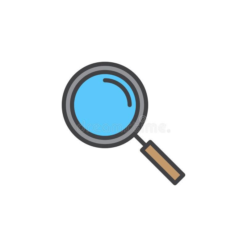 Powiększający - szkło kreskowa ikona, wypełniający konturu wektoru znak, liniowy kolorowy piktogram odizolowywający na bielu ilustracji