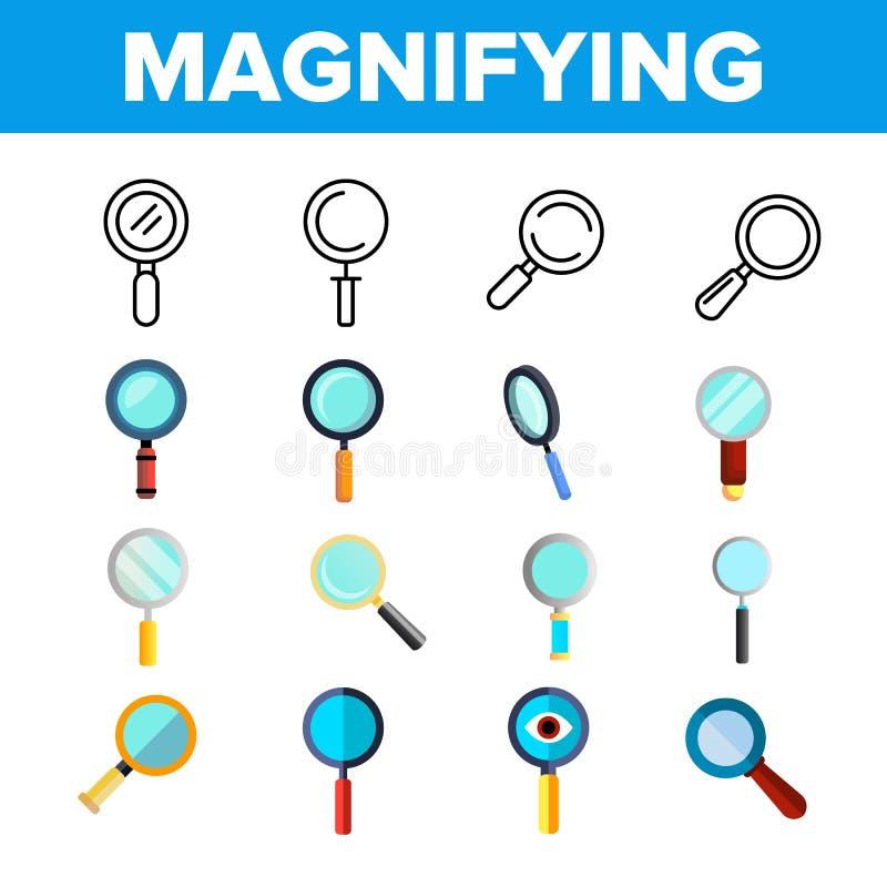 Powiększający - szkło, Magnifier ikony Liniowy Wektorowy set royalty ilustracja
