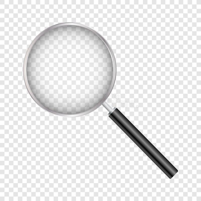 Powiększający - szkło, Z Gradientową siatką, Odizolowywającą na Przejrzystym tle Z Gradientową siatką, Wektorowa ilustracja ilustracja wektor