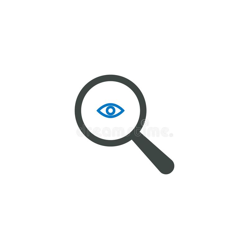 Powiększający - szklana ikona, oko ikona royalty ilustracja