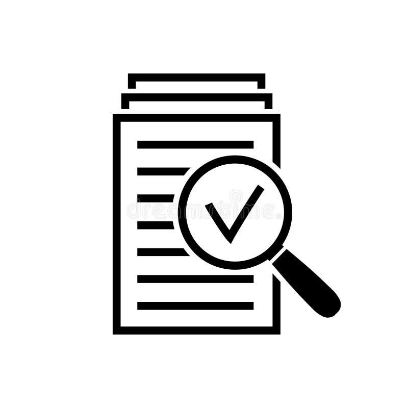 Powiększający - szklana ikona, rewizja dokumenty podpisuje ilustracji
