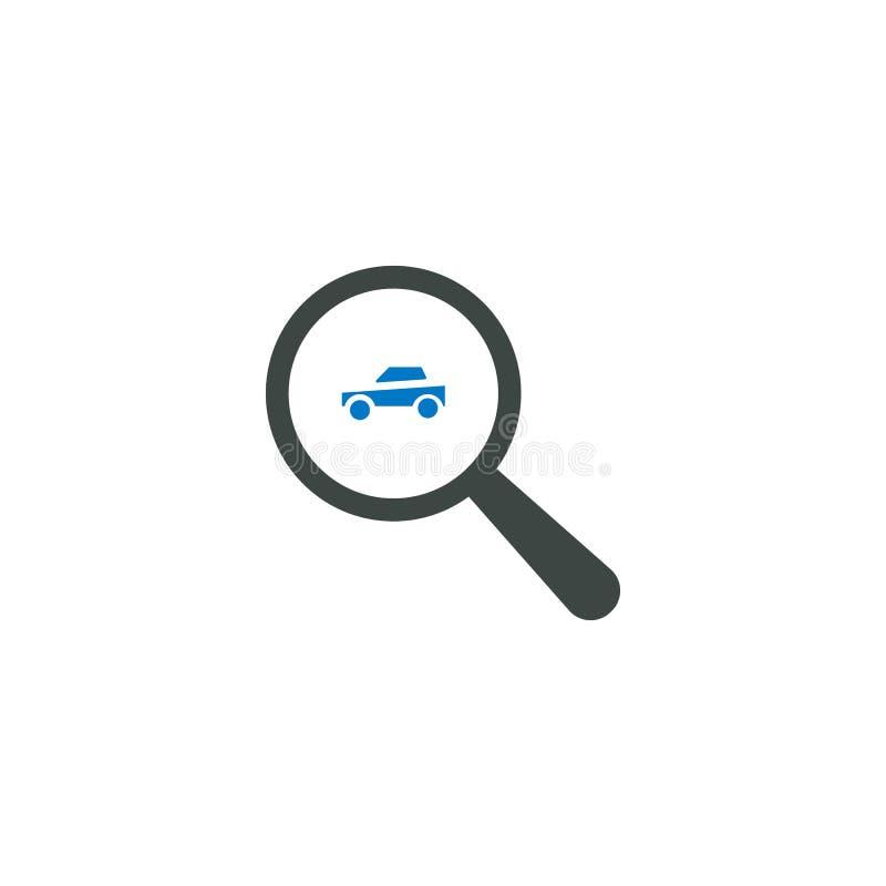 Powiększający - szklana ikona, samochodowa ikona ilustracji