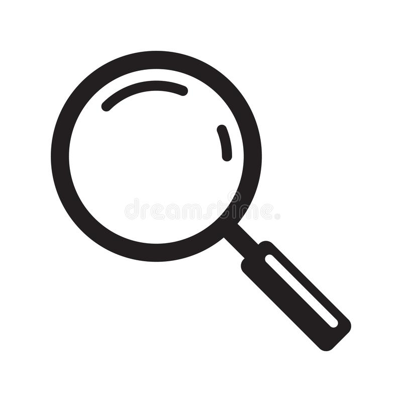 Powiększający - szklana ikona, wektorowy magnifier lub loupe znak, ilustracji