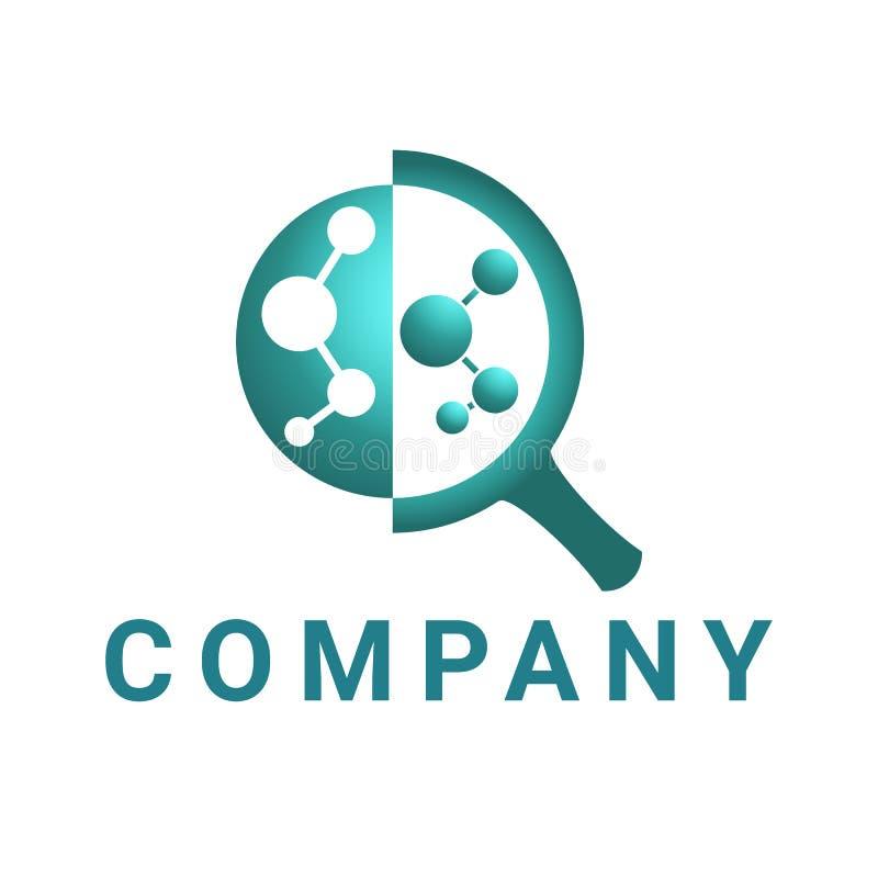 Powiększający - szklany logo, abstrakcjonistyczny okrąg łączący w szkle, ciemnozielonym ilustracja wektor