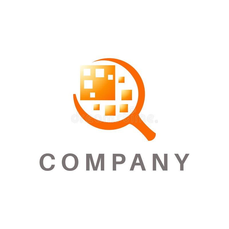 Powiększający - szklany logo, przedmiota abstrakt w centrum, pomarańczowy kolor ilustracji