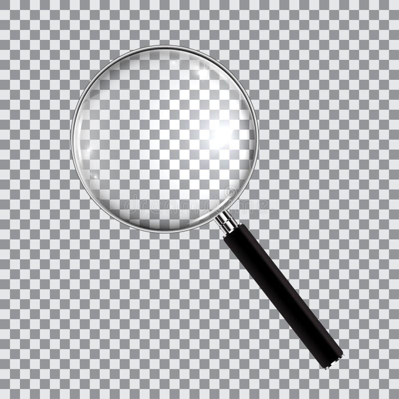 Powiększający - szklany realistyczny odosobniony na w kratkę tle, wektorowa ilustracja ilustracji