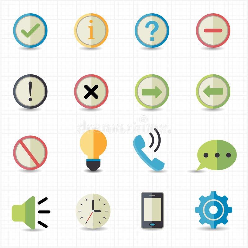 Powiadomienia i informaci ikony ilustracja wektor
