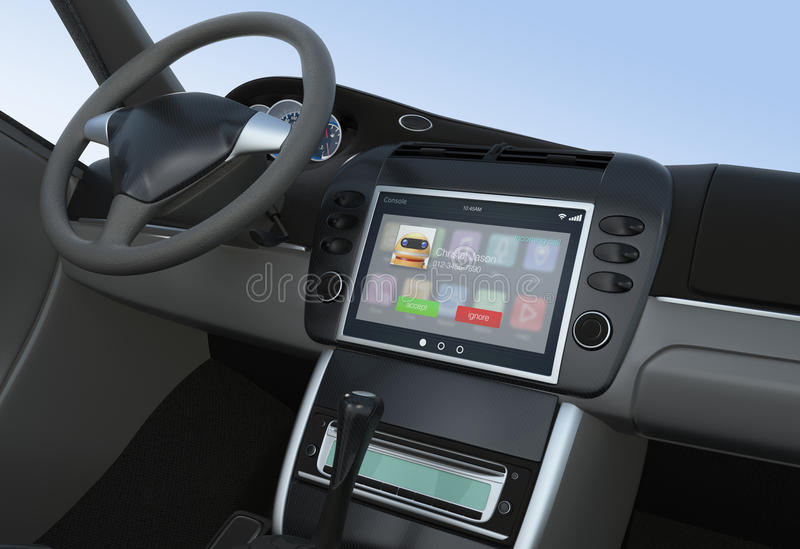 Powiadomienie przybywający wezwanie dla mądrze samochodowej konsoli ilustracji