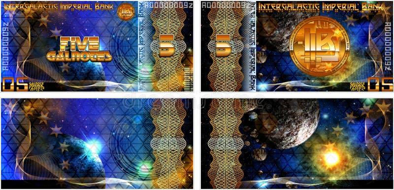 Powieściowi banknoty Międzygalaktyczny Cesarski bank I także puste formy banknoty royalty ilustracja