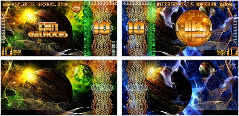 Powieściowi banknoty Międzygalaktyczny Cesarski bank I także puste formy banknoty ilustracja wektor