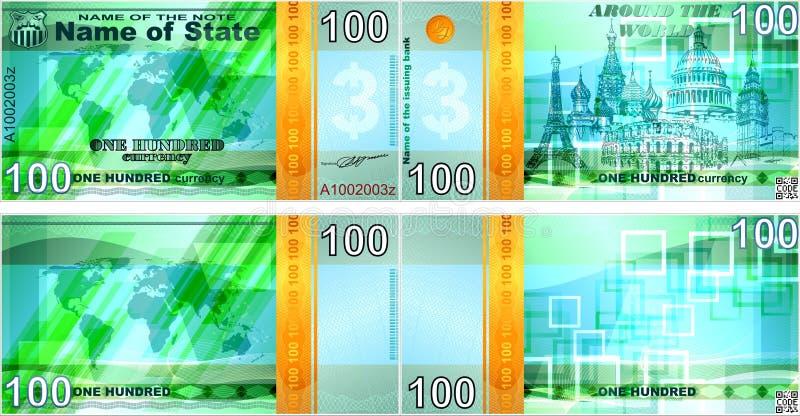 Powieściowi banknoty na tematu ` ` Dookoła świata Puste formy dla banknotów ilustracja wektor