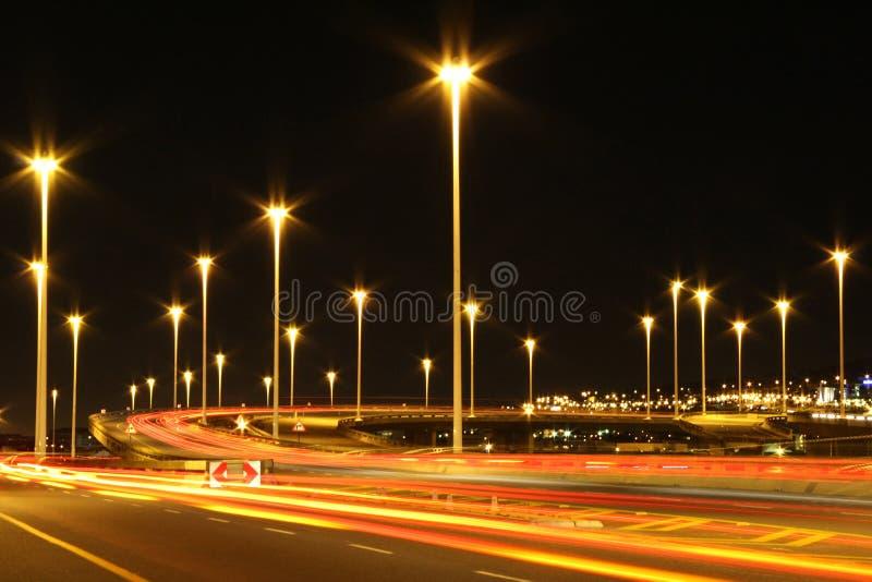 powierzchnia światła miast autostrady przemysłowych fotografia stock