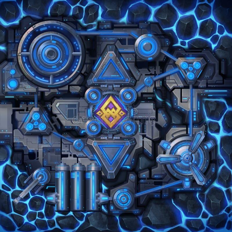 Powierzchnia fantastyka naukowa środowisko Odgórny widok Starship wnętrze ilustracja wektor