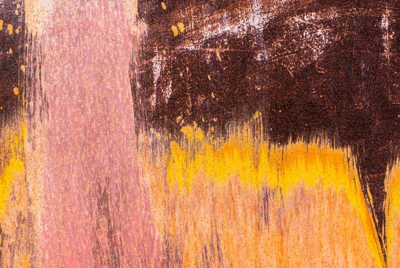 Powierzchnia ośniedziały żelazo z szczątkami stary farby tekstury tło zdjęcie royalty free
