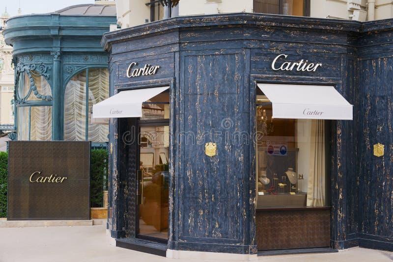 Powierzchowność luksusowy Cartier sklep obok sławnego Monte, Carlo kasyna -, Monaco fotografia stock