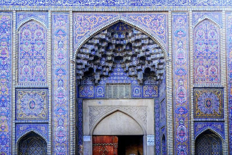 Powierzchowność Nasir al meczet Shiraz, Iran fotografia stock