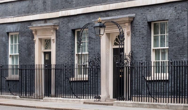 Powierzchowno?? 10 Downing Street, oficjalna rezydencja i biuro premier UK, obraz stock