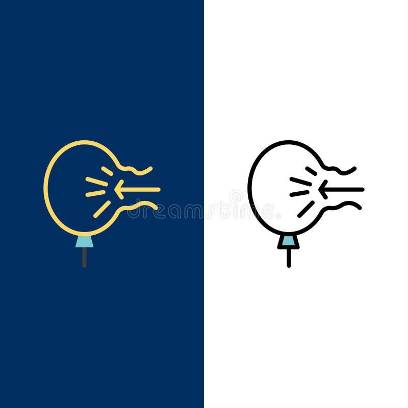 Powietrze, balon, cios, ulga, stres ikony Mieszkanie i linia Wypełniający ikony Ustalony Wektorowy Błękitny tło ilustracja wektor