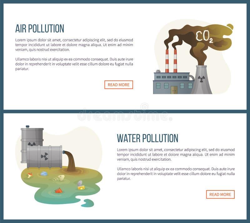 Powietrze i skażenie wody, problem związany z ochroną środowiska royalty ilustracja