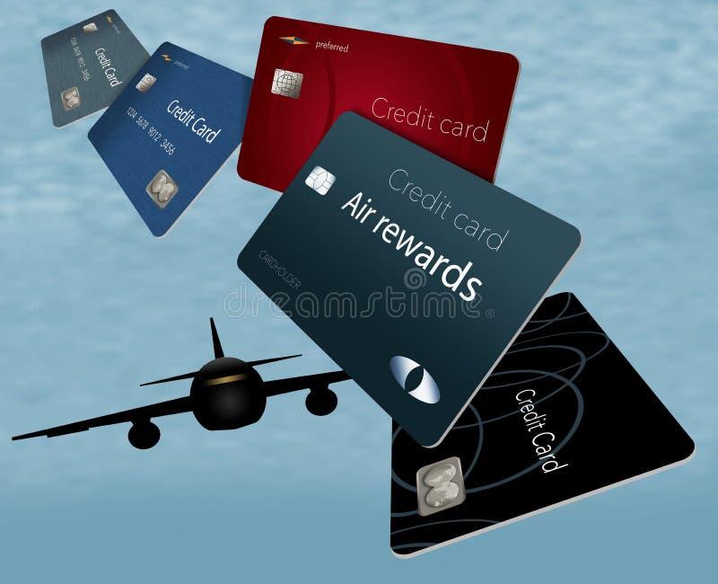Powietrze nagród karty kredytowe są widzieć tutaj unosić się, latać w th i ilustracji