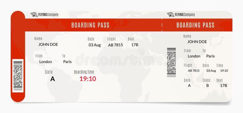 Powietrzna abordaż przepustka Płaskiego bileta projekt Samolotowa szablon ilustracja royalty ilustracja