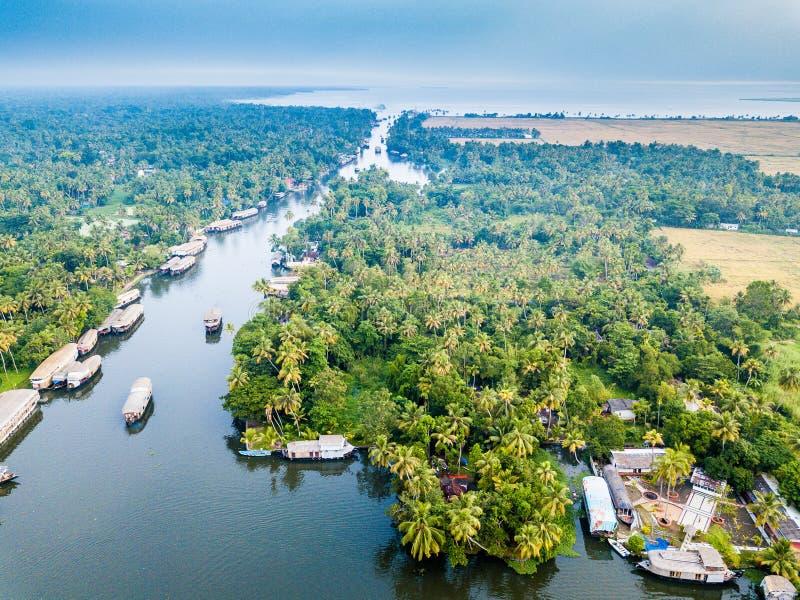Powietrzna fotografia Alappuzha India zdjęcie stock