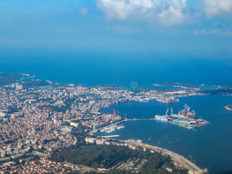 Powietrzna fotografia Pula, Chorwacja zdjęcia stock