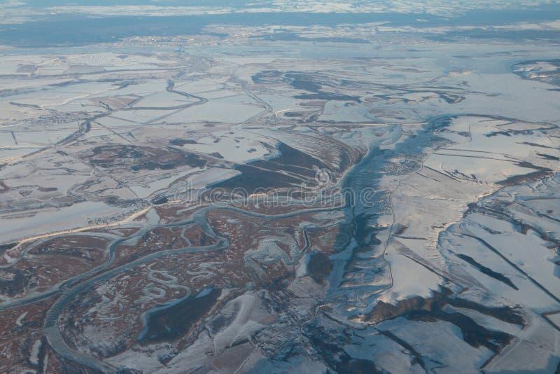 Powietrzna fotografia, usta rzeczny Svyaigi w zimie kazan Russia obrazy stock