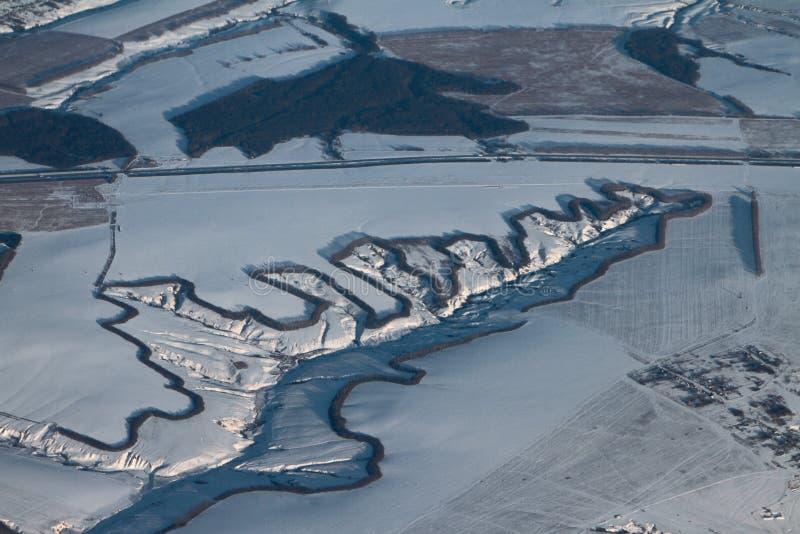 Powietrzna fotografia, wąwóz otaczający z coppice kazan Russia zdjęcie stock
