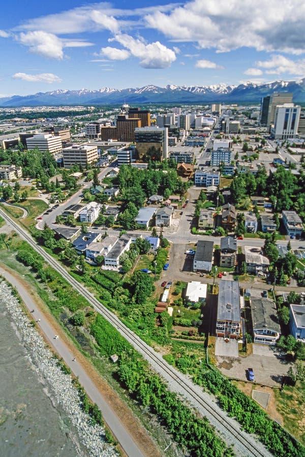 Powietrzna fotografia zakotwienie Alaska obrazy stock