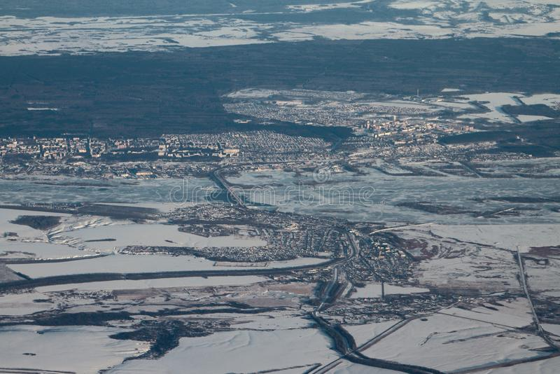 Powietrzna fotografia, Zelenodolsk republika Tatarstan region kazan Russia obrazy stock