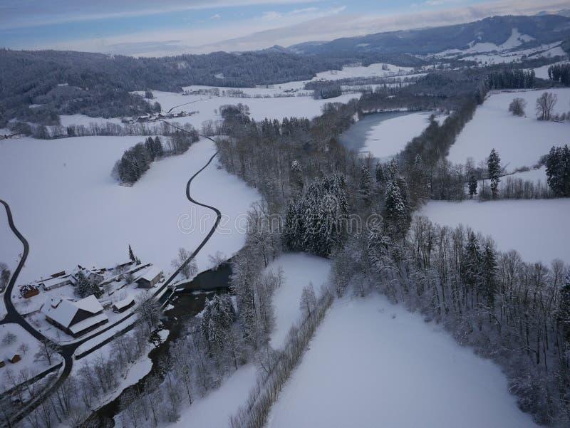 Powietrzna fotografia zima krajobraz obrazy stock