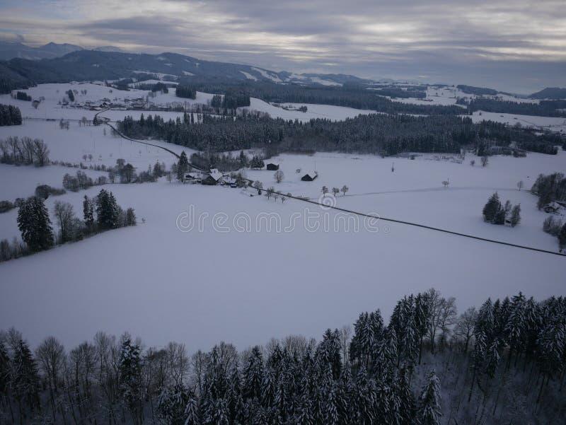 Powietrzna fotografia zima krajobraz zdjęcia stock