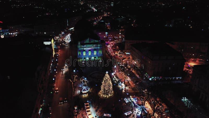 Powietrzna Lviv opera, teatr baletowy i Pi?kni theatres w Europa obraz royalty free
