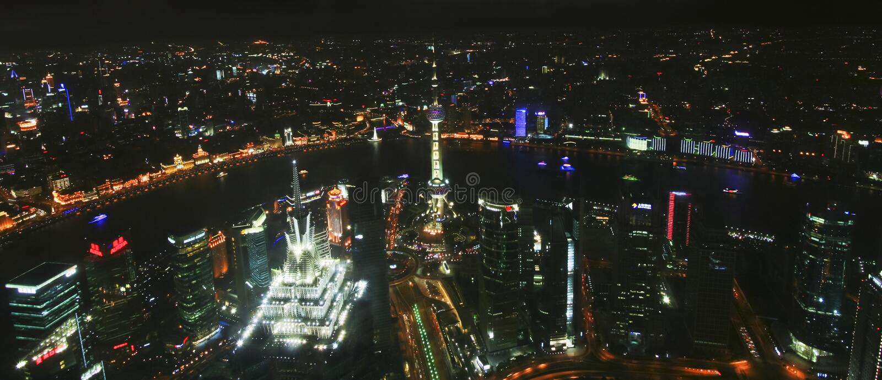 Powietrzna nocy scena Szanghaj, Chiny obraz stock