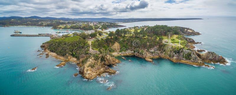 Powietrzna panorama Eden punkt obserwacyjny, NSW, Australia fotografia stock