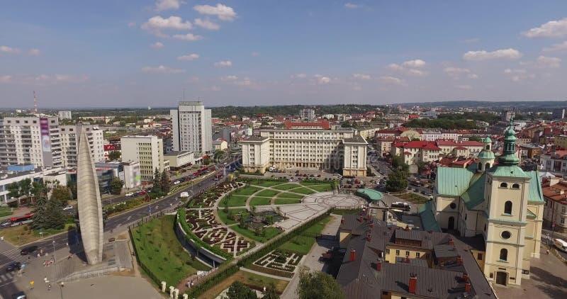 Powietrzna panorama rynek w Rzeszowskim, Polska E fotografia stock