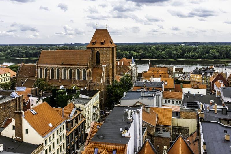 Powietrzna panorama Stary miasteczko - Toruński, Polska obrazy royalty free