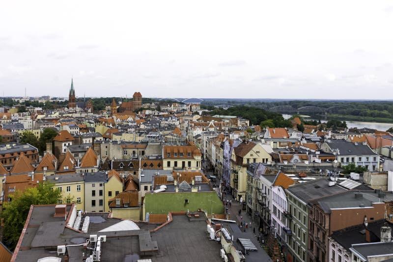 Powietrzna panorama Stary miasteczko - Toruński, Polska zdjęcia stock