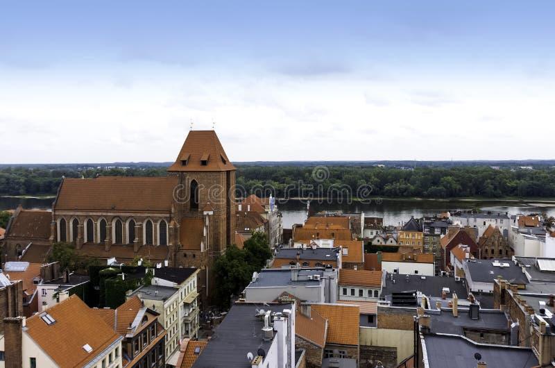 Powietrzna panorama Stary miasteczko - Toru?ski, Polska zdjęcie stock