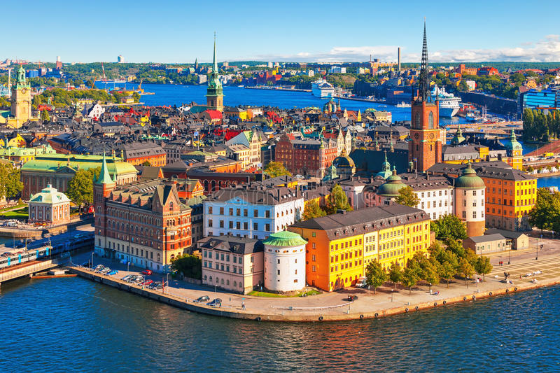 Powietrzna panorama Sztokholm, Szwecja zdjęcie stock