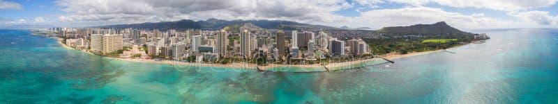 Powietrzna panoramiczna fotografia Hawaje obraz stock