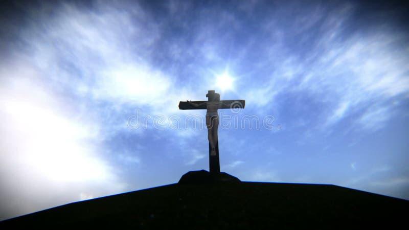 Powietrzna scena Jezusowy ukrzyżowany royalty ilustracja