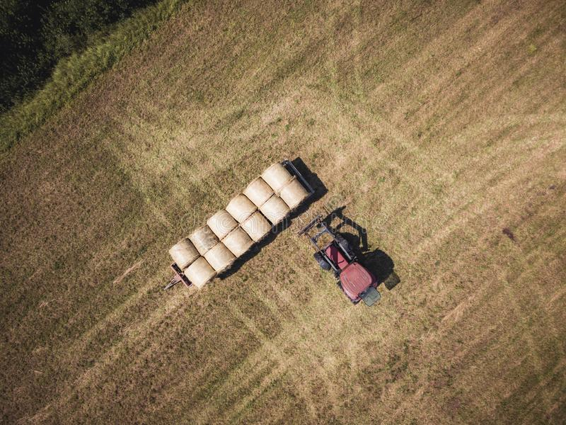 Powietrzna truteń fotografia Zbiera siano rolki w Pszenicznym polu z Czerwonym ciągnikiem rolnik - Pogodny letni dzień, rocznika  fotografia stock