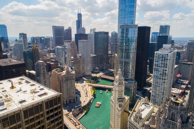 Powietrzna wizerunku Chicago rzeka obrazy royalty free