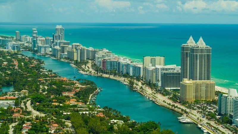 Powietrzna wizerunku Miami plaży collinsów aleja i indianin zatoczka obraz royalty free