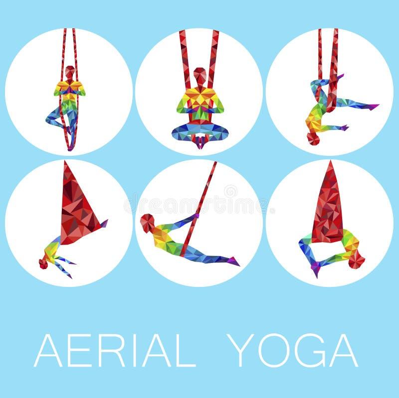 Powietrzne joga ikony z kobiety sylwetką ilustracja wektor
