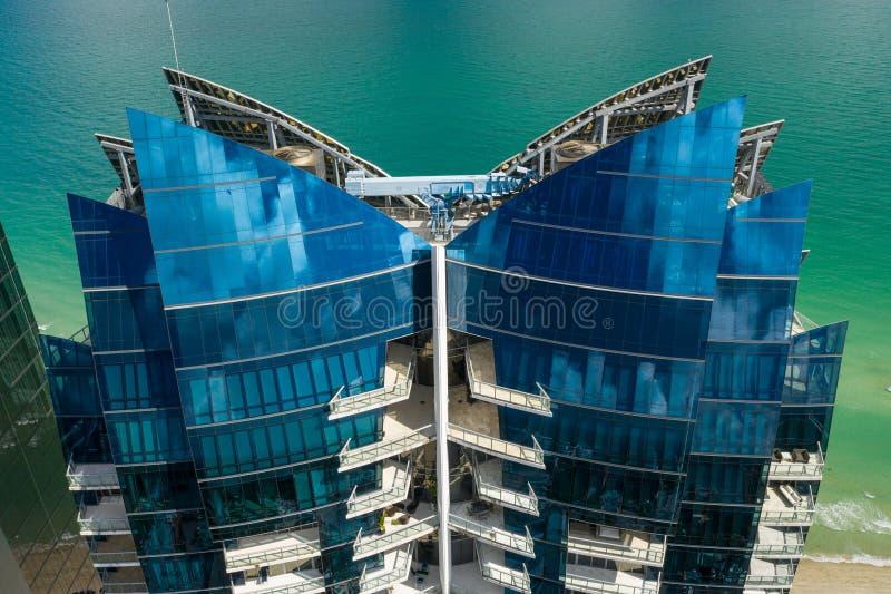 Powietrznej fotografia chabeta oceanu plaży Miami wysp Floryda highrise Pogodny kondominium zdjęcia royalty free