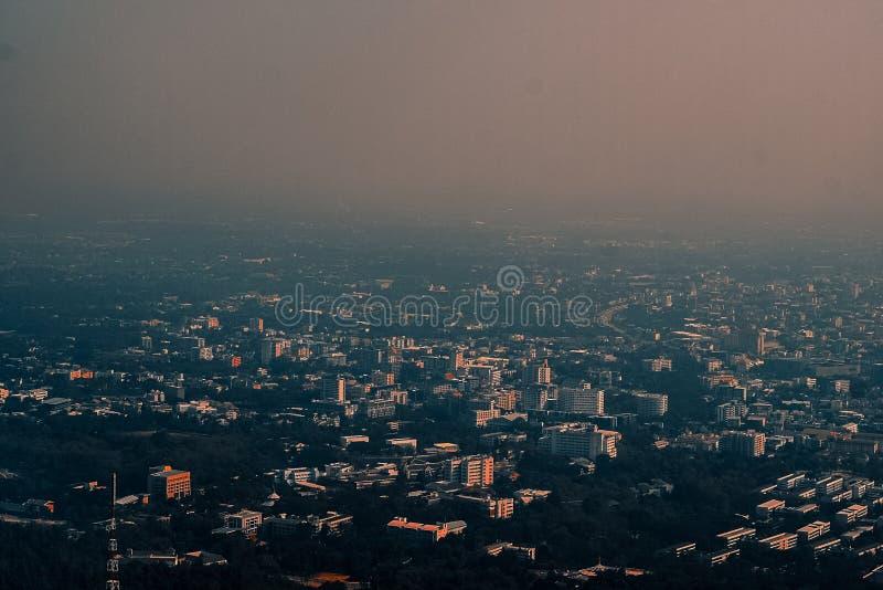 Powietrznej fotografii miasta Chiangmai Duża północ Tajlandia obrazy royalty free