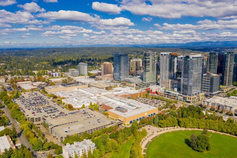 Powietrznej truteń fotografii Bellevue Waszyngton W centrum usa obrazy royalty free